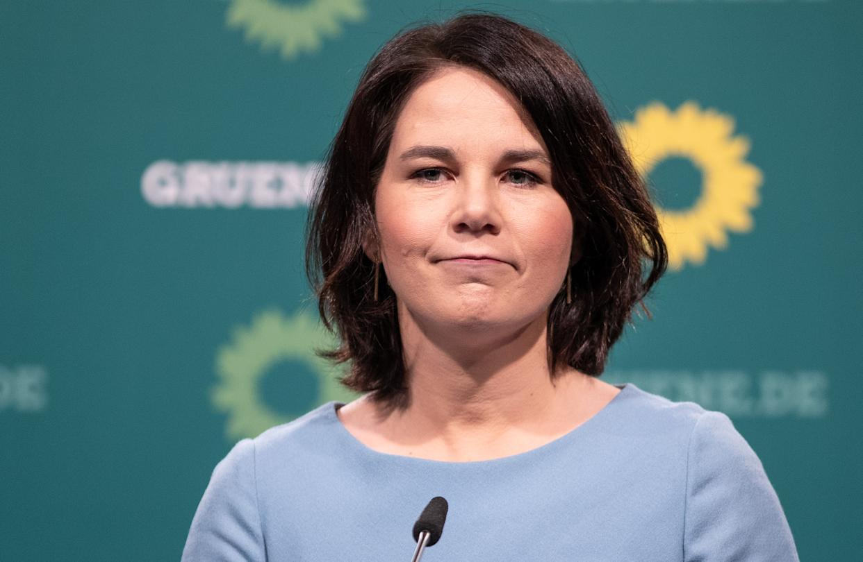 BERLIN, GERMANY - MAY 17: Greens Party Chancellor Candidate  and Party Chairwoman Annalena Baerbock gives a press statement at the Heinrich-Böll-Stiftung on May 17, 2021 in Berlin, Germany. (Photo by Andreas Gora - Pool/Getty Images)