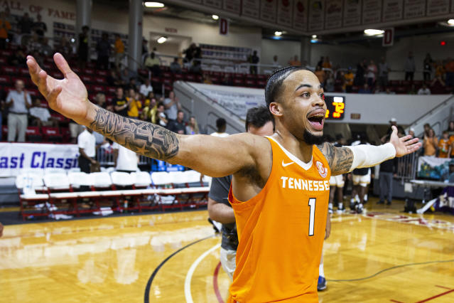 Tennessee guard Lamonte Turner reacts to hitting the winning shot at the buzzer in the Emerald Coast Classic against Virginia Commonwealth in Niceville, Florida, on Saturday. (AP/Mark Wallheiser)