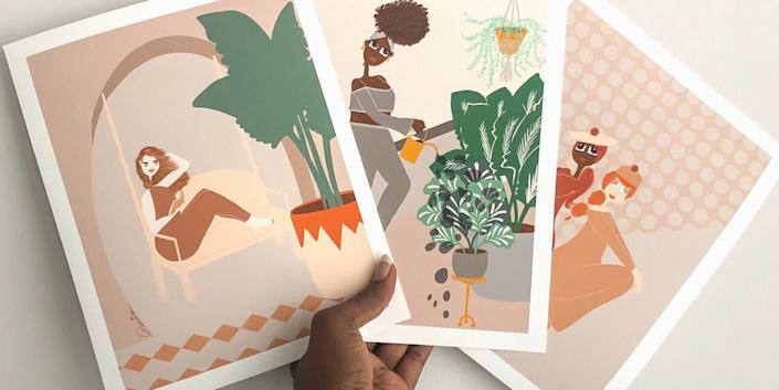 """This Kentucky-based Etsy shop carries beautiful lifestyle illustrations featuring women in a variety of shapes, sizes and shades, and with various hair textures. Shop this <a href=""""https://fave.co/2UxVvjh"""" rel=""""nofollow noopener"""" target=""""_blank"""" data-ylk=""""slk:watering plants wall art for $25"""" class=""""link rapid-noclick-resp"""">watering plants wall art for $25</a> at <a href=""""https://fave.co/2YkSfJf"""" rel=""""nofollow noopener"""" target=""""_blank"""" data-ylk=""""slk:Lovely Earthlings on Etsy"""" class=""""link rapid-noclick-resp"""">Lovely Earthlings on Etsy</a>."""