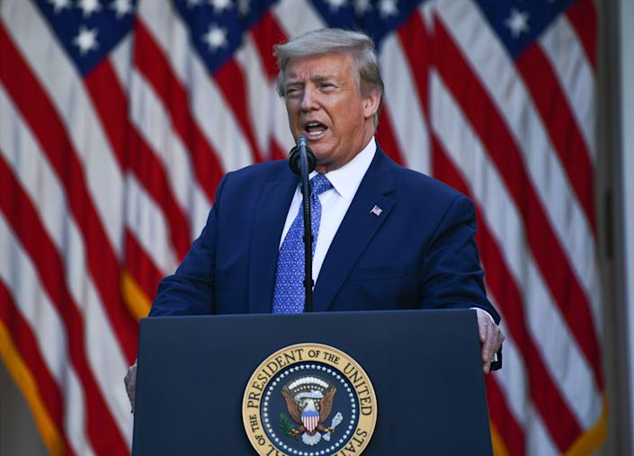 US President Donald Trump delivers remarks in front of the media in the Rose Garden of the White House in Washington, DC on June 1, 2020. Brendan Smialowski/AFP via Getty Images)