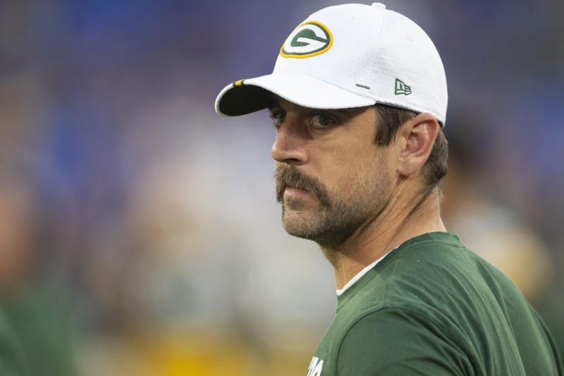 Green Bay Packers quarterback Aaron Rodgers couldn't help but wear his most Canadian outfit ahead of his team's preseason game against the Oakland Raiders. (Tommy Gilligan-USA TODAY Sports)