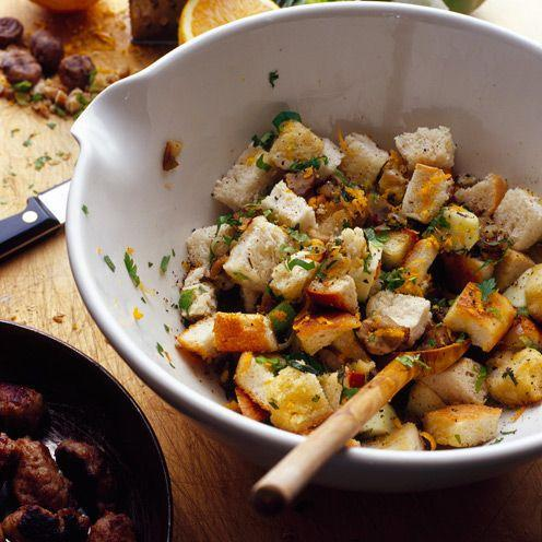 """<p>Avoid shop bought packages and make your own stuffing, it's simple!</p><p><strong>Recipe: <a href=""""https://www.goodhousekeeping.com/uk/food/recipes/a537173/chestnut-shallot-and-orange-stuffing/"""" rel=""""nofollow noopener"""" target=""""_blank"""" data-ylk=""""slk:Chestnut, shallot and orange stuffing"""" class=""""link rapid-noclick-resp"""">Chestnut, shallot and orange stuffing</a></strong></p>"""
