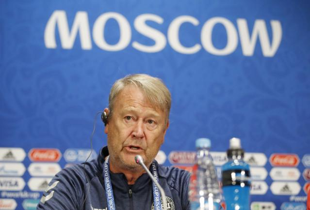 Soccer Football - World Cup - Denmark News Conference - Luzhniki Stadium, Moscow, Russia - June 25, 2018 Denmark coach Age Hareide during news conference REUTERS/Carl Recine
