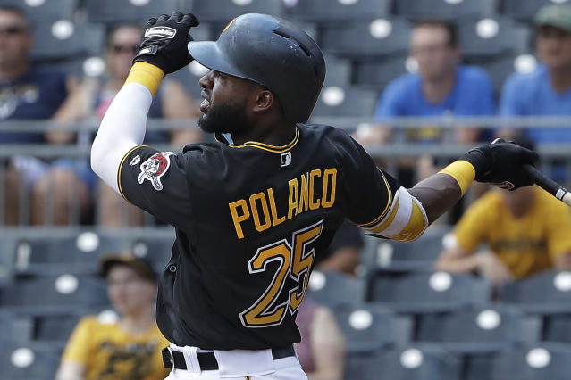 Pittsburgh Pirates' Gregory Polanco watches his solo home run off Milwaukee Brewers starting pitcher Chase Anderson in the first inning of a baseball game in Pittsburgh, Saturday, July 14, 2018. (AP Photo/Gene J. Puskar)
