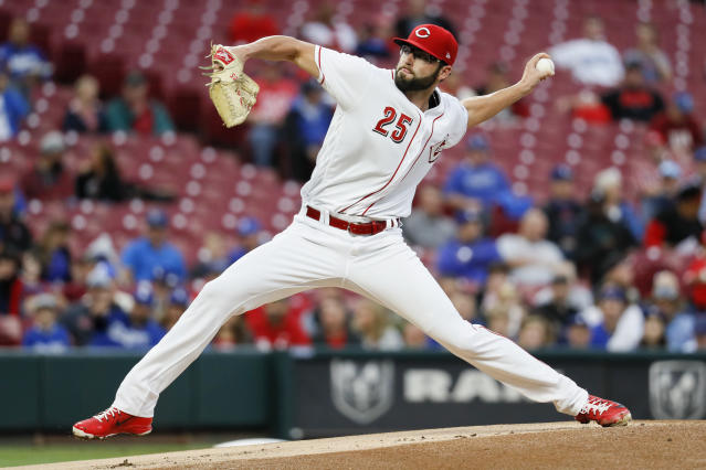 Cincinnati Reds starting pitcher Cody Reed throws in the first inning of a baseball game against the Los Angeles Dodgers, Monday, Sept. 10, 2018, in Cincinnati. (AP Photo/John Minchillo)