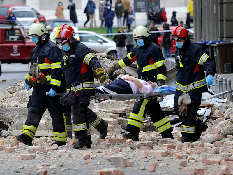 Firefighters rescue a resident in Zagreb after an earthquake hit Croatia: AP
