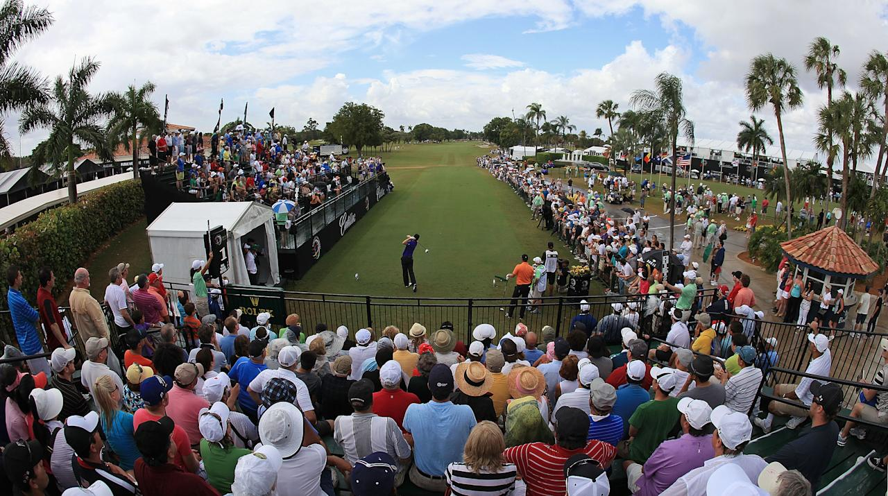 MIAMI, FL - MARCH 11:  Justin Rose of England hits his tee shot on the first hole during the final round of the World Golf Championship's Cadillac Championship at Doral Golf Resort And Spa on March 11, 2012 in Miami, Florida.  (Photo by Mike Ehrmann/Getty Images)