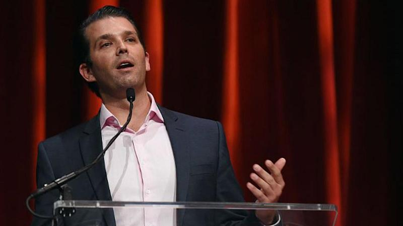 Donald Trump Jr. Gets 'Interviewed' by Chocolate Bunny at Pennsylvania Candy Factory