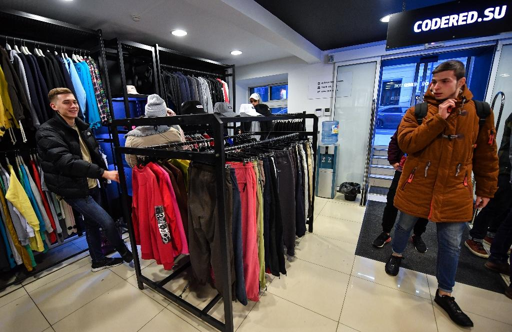 Shops like Codered in Moscow feature Russian street style clothes that have become a global fashion trend. (AFP Photo/Yuri KADOBNOV)