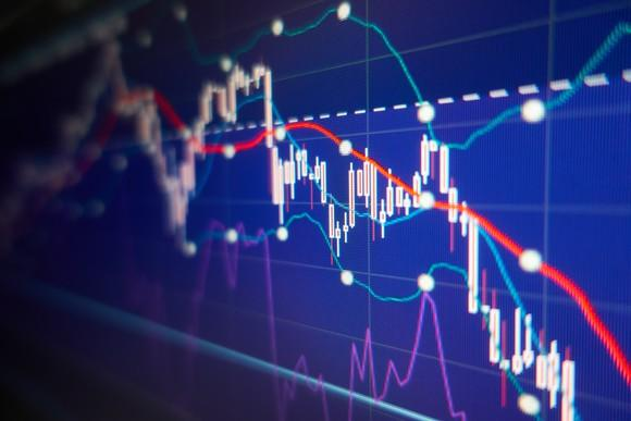 Falling stock graph with blue background