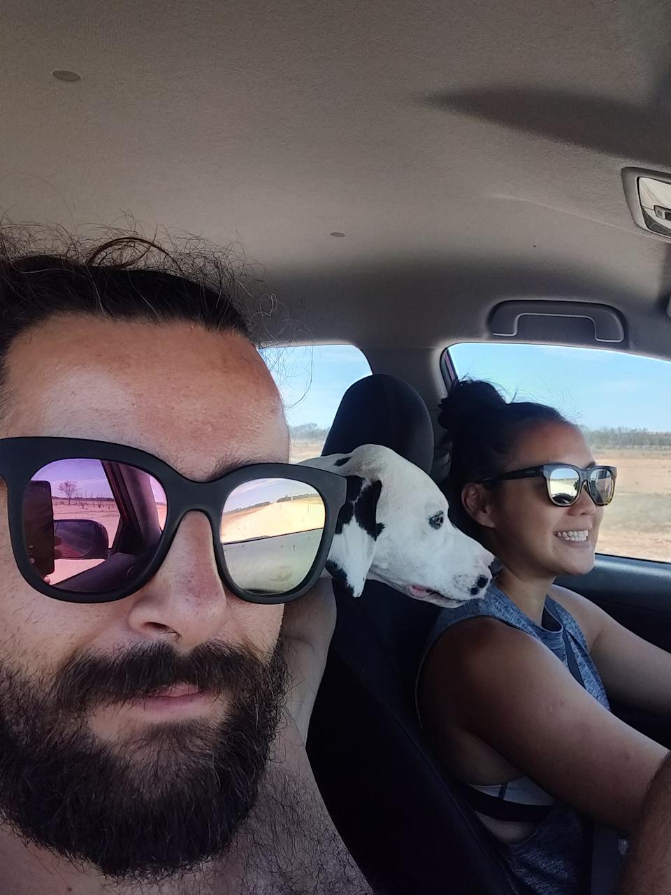 Jose, Nicky and their dog Loki became stranded on their journey from Cairns to Adelaide. Source: Royal Flying Doctor Service