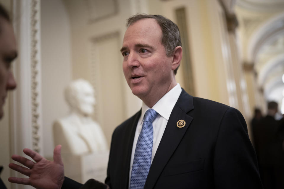 FILE - In this Tuesday, March 3, 2020, file photo, House Intelligence Committee Chairman Adam Schiff, D-Calif., talks to reporters as lawmakers work to extend government surveillance powers that are expiring soon, on Capitol Hill in Washington. House Speaker Nancy Pelosi and other top Democrats called for an investigation on Thursday, June 10, 2021, after The New York Times reported that the Justice Department under President Donald Trump seized the communications data of members of the House Intelligence Committee, including those of Schiff. (AP Photo/J. Scott Applewhite, File)