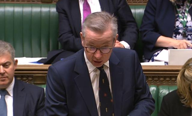 Cabinet Office Minister Michael Gove makes a statement to MPs in the House of Commons, London, on the future relationship with the EU. (PA)