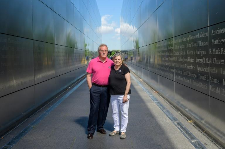 Diane and Kurt Horning, who lost their son Matthew in the 9/11 attacks, are seen at the Empty Sky 9/11 Memorial in Jersey City, New Jersey