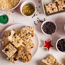 """These treats are all about the mix and match. You canexperiment with different cereal and mix-in combinations to create your own unique treats. Try wheat puffs with pistachios and dried cranberries, Rice Krispies with dried blueberries and cinnamon, and Cheerios with pepitas and dried cherries. <a href=""""https://www.epicurious.com/recipes/food/views/christina-tosis-christmas-treats-51205030?mbid=synd_yahoo_rss"""" rel=""""nofollow noopener"""" target=""""_blank"""" data-ylk=""""slk:See recipe."""" class=""""link rapid-noclick-resp"""">See recipe.</a>"""