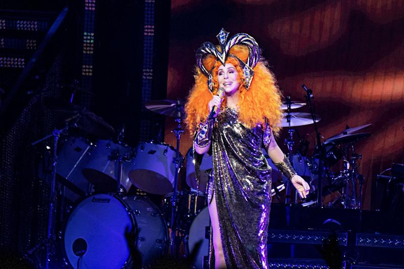 "Cher seen during the ""Here We Go Again Tour"" at the KFC Yum! Center on Monday, Feb. 4, 2019, in Louisville, Ky. (Photo by Amy Harris/Invision/AP)"