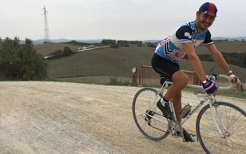 Andrea rides the white roads of Strade Bianche —Strade Bianche: Do not be fooled by the picture postcard backdrop, its unforgiving roads are brutish - JOHN MACLEARY