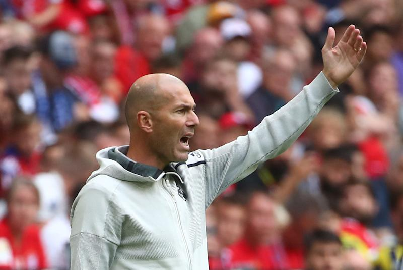 Soccer Football - Audi Cup - Third Place Play Off - Real Madrid v Fenerbahce - Allianz Arena, Munich, Germany - July 31, 2019 Real Madrid coach Zinedine Zidane REUTERS/Michael Dalder