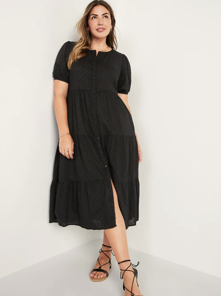 Puff-Sleeve Clip-Dot Button-Front Midi Swing Dress (Photo via Old Navy)