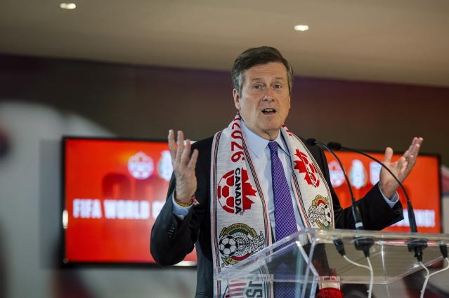 Toronto mayor John Tory discusses the successful joint North American bid by Canada, the U.S. and Mexico to host the 2026 World Cup at a press conference in Toronto on Wednesday, June 13, 2018. (Christopher Katsarov/The Canadian Press via AP)