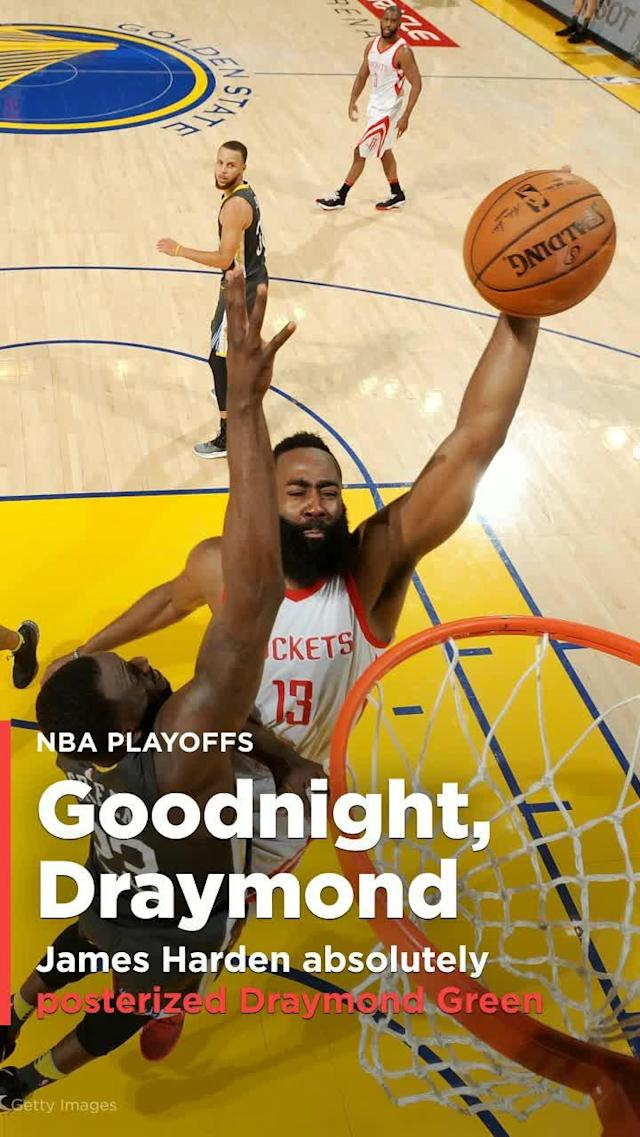 Houston Rockets superstar James Harden absolutely JAMMED on Draymond Green in Game 4 of the Western Conference Finals.