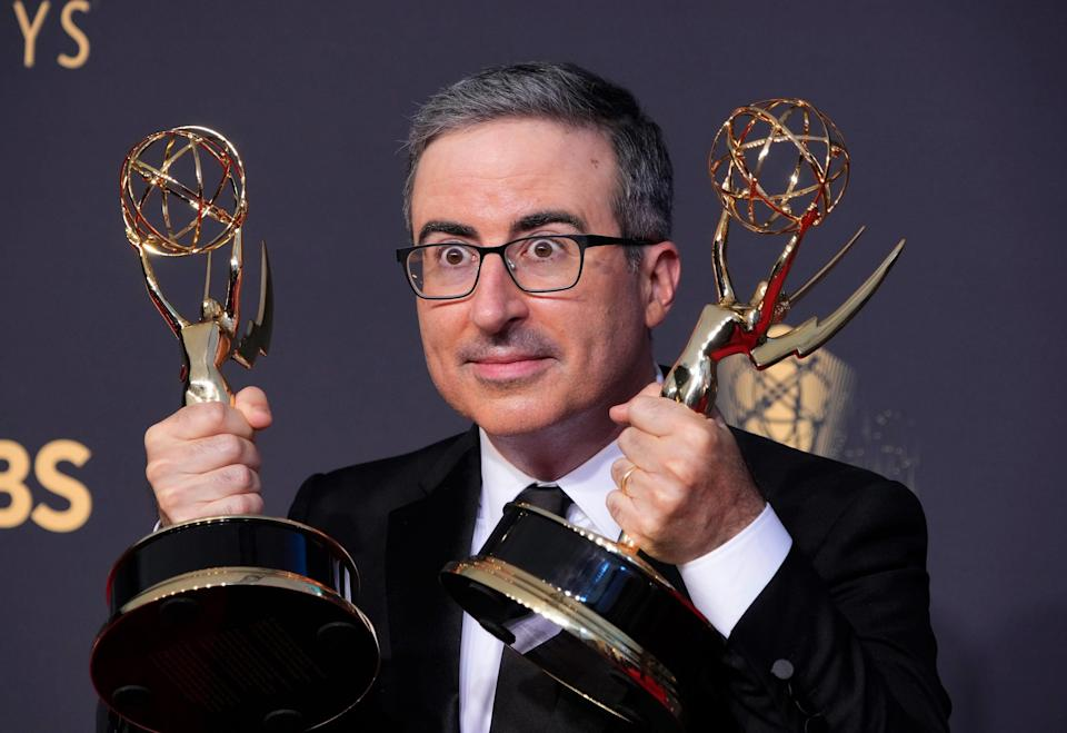 John Oliver, winner of Outstanding Variety Talk Series and Outstanding Writing for a Variety Series for 'Last Week With John Oliver', in the press room at the 73rd Emmy Awards at L.A. Live.