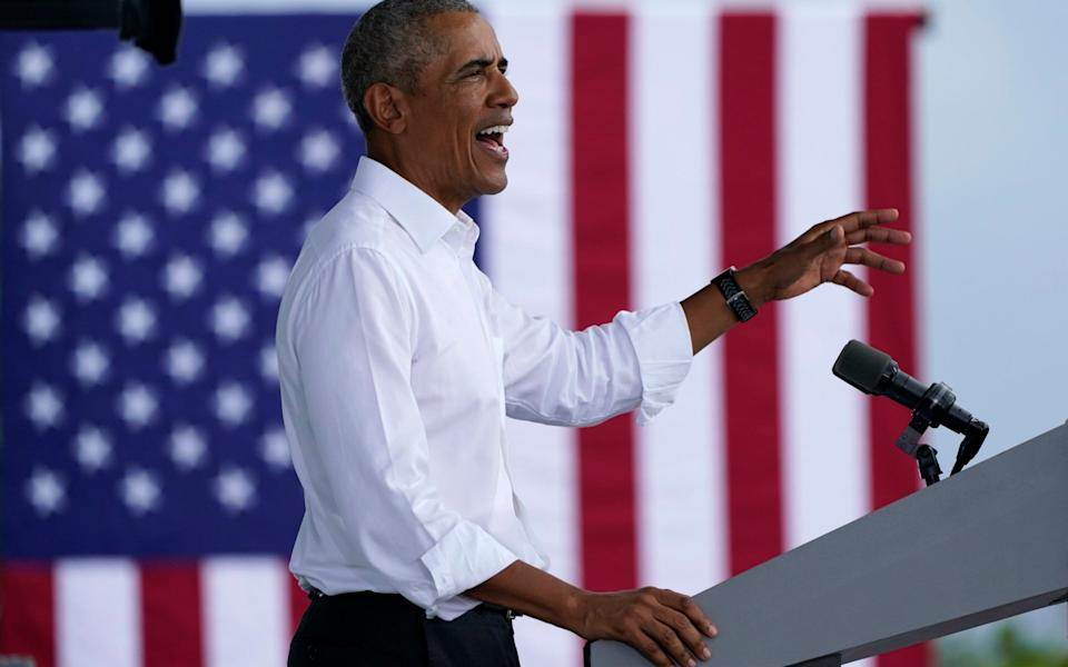 Former President Barack Obama speaks as he campaigns for Democratic presidential candidate former Vice President Joe Biden at Florida International University -  Lynne Sladky / AP