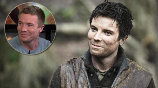 Joe Dempsie as Gendry in 'Game of Thrones,' and at Access Hollywood (inset) -- Access Hollywood/Helen Sloan/HBO