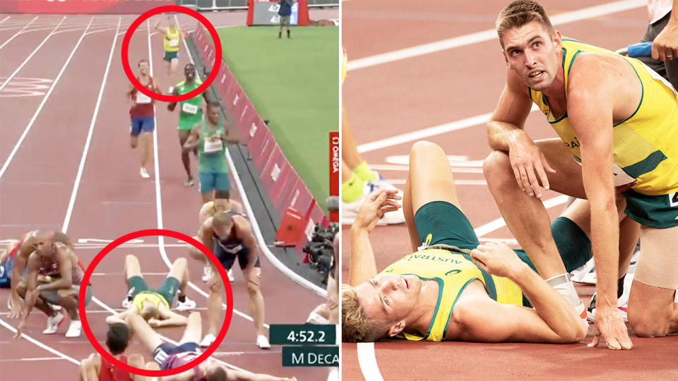 Cedric Dubler, pictured here helping Ash Moloney secure the bronze medal in decathlon.