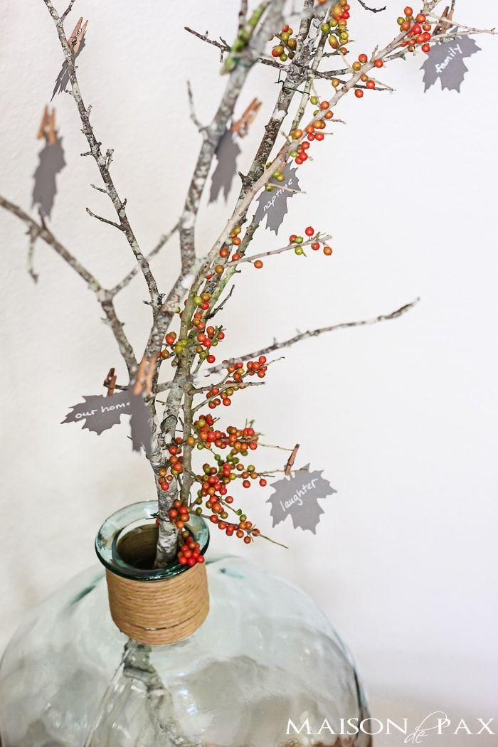 "<p>Add some beautiful color to your thankful tree by attaching some pretty berry branches (they can be real or faux), then placing it in an elegant glass vase. Don't forget to tack on the thankful leaves with <a href=""https://www.amazon.com/gp/product/B00JGUHFKS?tag=syn-yahoo-20&ascsubtag=%5Bartid%7C10055.g.33525114%5Bsrc%7Cyahoo-us"" rel=""nofollow noopener"" target=""_blank"" data-ylk=""slk:mini clothespins"" class=""link rapid-noclick-resp"">mini clothespins</a> for an easy and super-chic DIY look!</p><p><em><a href=""https://www.maisondepax.com/a-thankful-tree/"" rel=""nofollow noopener"" target=""_blank"" data-ylk=""slk:Get the tutorial at Maison de Pax »"" class=""link rapid-noclick-resp"">Get the tutorial at Maison de Pax »</a></em> </p><p><strong>RELATED: </strong><a href=""https://www.goodhousekeeping.com/home/decorating-ideas/g1711/diy-home-decor/"" rel=""nofollow noopener"" target=""_blank"" data-ylk=""slk:25 DIY Home Decor Projects That'll Totally Refresh Your Space"" class=""link rapid-noclick-resp"">25 DIY Home Decor Projects That'll Totally Refresh Your Space</a></p>"