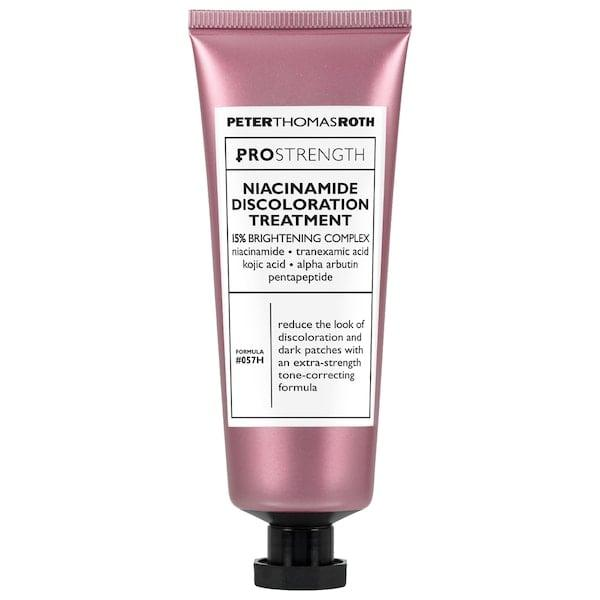 """<p>With its potent 15-percent active complex that includes niacinamide along with other brighteners like tranexamic and kojic acids to take on dark spots, acne scars, and sun damage, it's no surprise this <product href=""""https://www.sephora.com/product/peter-thomas-roth-pro-strength-niacinamide-discoloration-treatment-P454102?skuId=2322691&amp;icid2=products%20grid:p454102:product"""" target=""""_blank"""" class=""""ga-track"""" data-ga-category=""""internal click"""" data-ga-label=""""https://www.sephora.com/product/peter-thomas-roth-pro-strength-niacinamide-discoloration-treatment-P454102?skuId=2322691&amp;icid2=products%20grid:p454102:product"""" data-ga-action=""""body text link"""">Peter Thomas Roth Pro Strength Niacinamide Discoloration Treatment</product> ($88) has earned an average 4.5-star rating from other shoppers, too.</p>"""