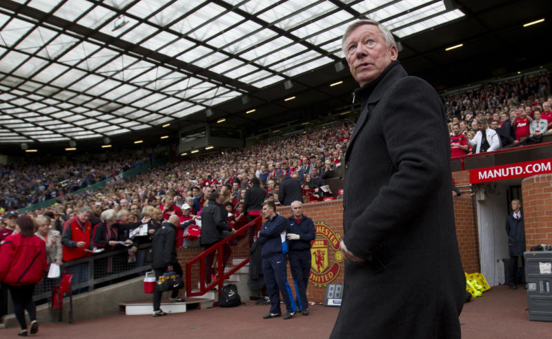 In this Sunday May 5, 2013 photo, Manchester United's manager Sir Alex Ferguson takes to the touchline before his team's English Premier League soccer match against Chelsea at Old Trafford Stadium in Manchester, England. Ferguson will step down as Manchester United manager at the end of the season after 26 years in charge. (AP Photo/Jon Super)