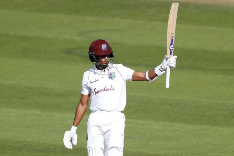 West Indies' Shane Dowrich celebrates his fifty in the first Test against England at Southampton