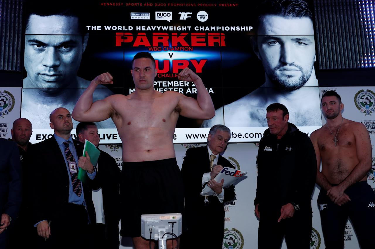 Boxing - Joseph Parker and Hughie Fury Weigh-In - Manchester, Britain - September 22, 2017   Joseph Parker during the Weigh-In   Action Images via Reuters/Andrew Couldridge