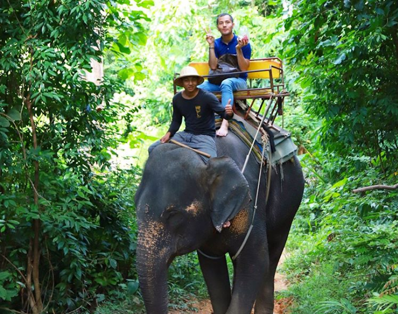 Datuk Aliff Syukri is under attack by social media users after he posted a photo of himself riding an elephant in Thailand. — Picture via Instagram/aliffsyukriterlajaklaris