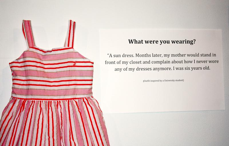 "<strong>What were you wearing?</strong> ""A sun dress. Months later, my mother would stand in front of my closet and complain about how I never wore any of my dresses anymore. I was six years old."" (Jennifer Sprague)"