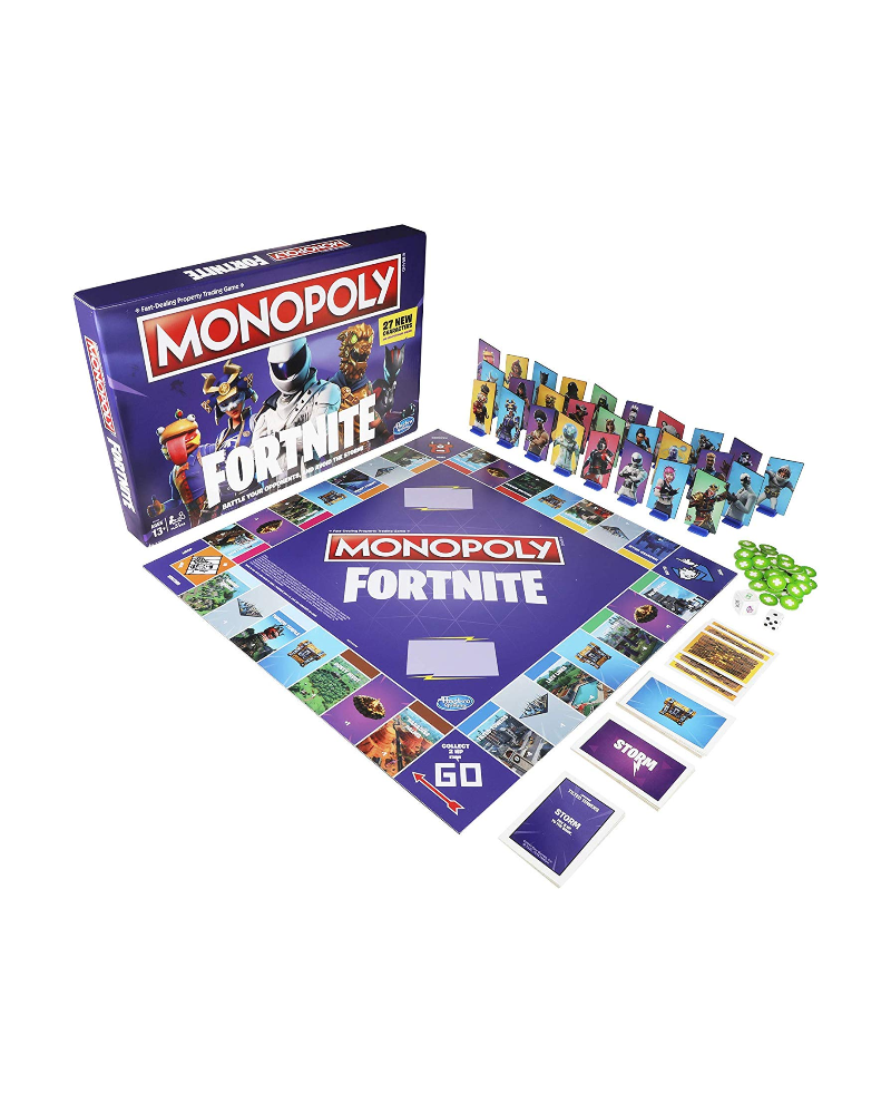 """<p><strong>Monopoly</strong></p><p>amazon.com</p><p><strong>$13.73</strong></p><p><a href=""""https://www.amazon.com/dp/B07NYTDBCR?tag=syn-yahoo-20&ascsubtag=%5Bartid%7C10057.g.23748374%5Bsrc%7Cyahoo-us"""" rel=""""nofollow noopener"""" target=""""_blank"""" data-ylk=""""slk:BUY NOW"""" class=""""link rapid-noclick-resp"""">BUY NOW</a></p><p>You might just be able to pry them away from the computer to play a board game with this special Fortnite-themed Monopoly set.</p>"""