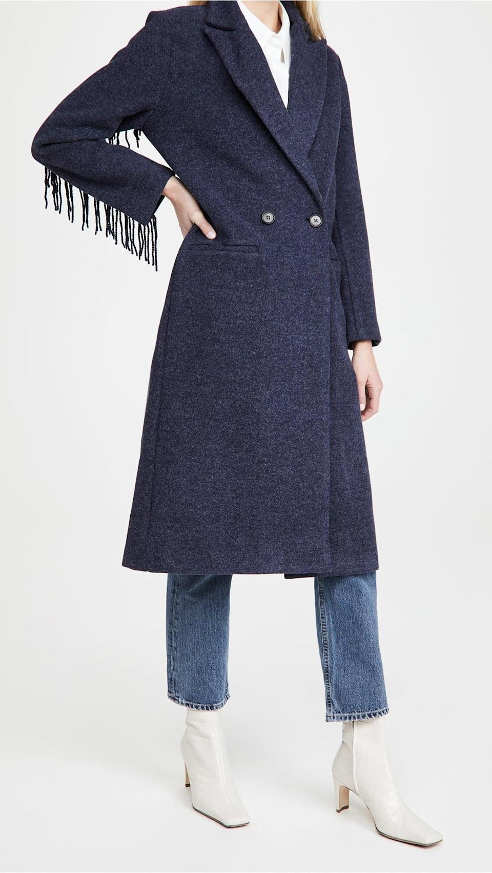 <p>This <span>Line & Dot Jesssica Fringe Coat</span> ($189) is both current and classic.</p>