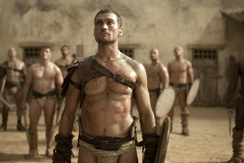 """In this TV publicity image released by Starz, Andy Whitfield portrays Spartacus  in the Starz original series, """"Spartacus.""""   (AP Photo/Starz Entertainment, LLC)"""