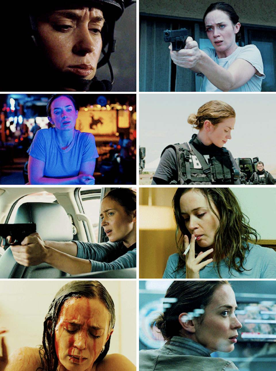 """Blunt as KAte Macer in """"Sicario"""" shooting a gun, smoking, and taking a shower to wash blood off of herself"""