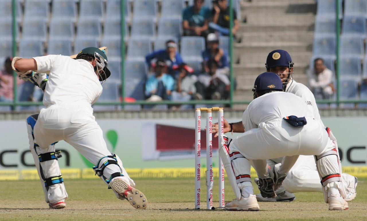 James Pattinson is caught out by Virat kohli of India during the 4th test match of the Border-Gavaskar Trophy, at Feroz Shah Kotla Stadium in Delhi on March 23, 2013. P D Photo by P S Kanwar