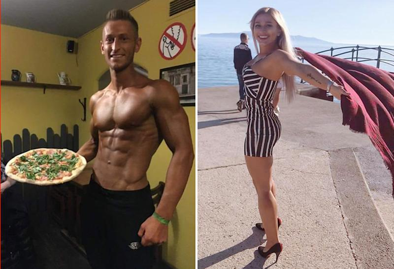 Pictured are Zdenek Slouka and Sabina Dolezalova. The couple, both Instagram fitness models, have been criticised for playing with holy water at Bali's Beji Temple.