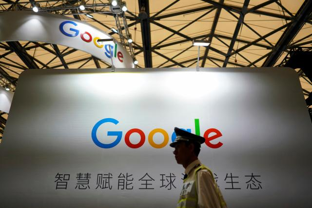 A Google sign is seen during the China Digital Entertainment Expo and Conference (ChinaJoy) in Shanghai, China August 3, 2018. REUTERS/Aly Song - RC18C287ECF0