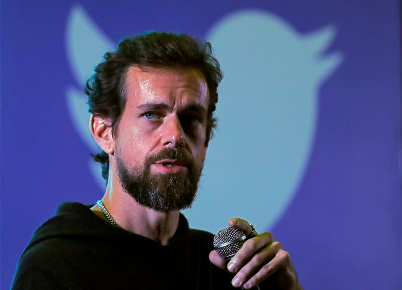 FILE PHOTO: Twitter CEO Jack Dorsey addresses students during a town hall at the Indian Institute of Technology (IIT) in New Delhi
