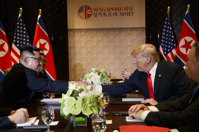 <p>President Donald Trump meets with North Korean leader Kim Jong Un on Sentosa Island, Tuesday, June 12, 2018, in Singapore. (AP Photo/Evan Vucci) </p>