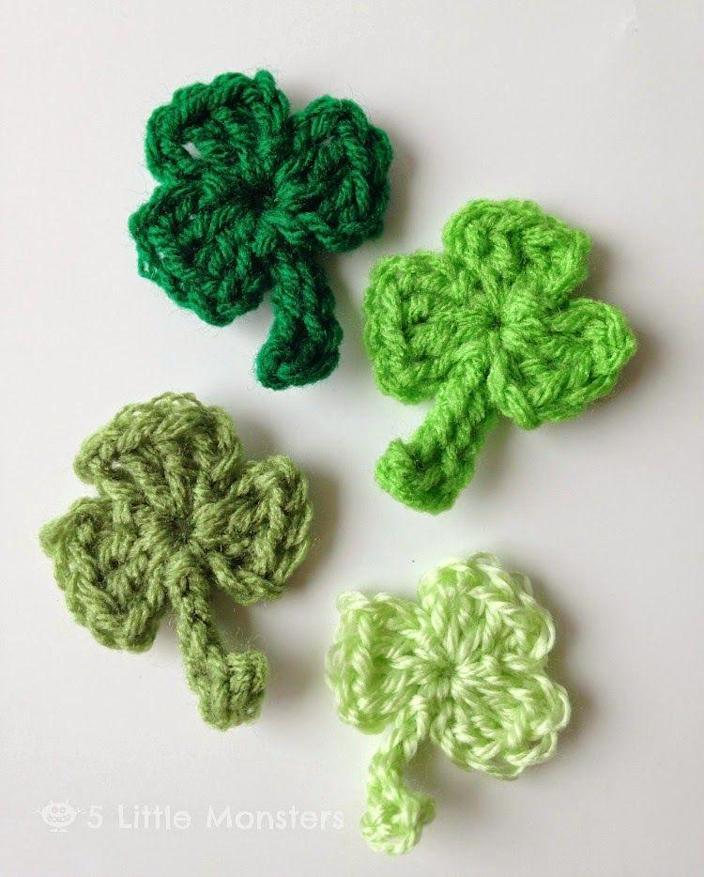"""<p>Even newbies should be able to crochet these clovers. You can use them for barrettes, pins, or just cute homemade decorations.</p><p><strong>Get the tutorial at <a href=""""https://www.5littlemonsters.com/2015/03/super-simple-crocheted-clovers.html"""" rel=""""nofollow noopener"""" target=""""_blank"""" data-ylk=""""slk:5 Little Monsters"""" class=""""link rapid-noclick-resp"""">5 Little Monsters</a>.</strong></p><p><a class=""""link rapid-noclick-resp"""" href=""""https://www.amazon.com/s?k=crochet+hooks&tag=syn-yahoo-20&ascsubtag=%5Bartid%7C2164.g.35012898%5Bsrc%7Cyahoo-us"""" rel=""""nofollow noopener"""" target=""""_blank"""" data-ylk=""""slk:SHOP CROCHET HOOKS"""">SHOP CROCHET HOOKS</a></p>"""