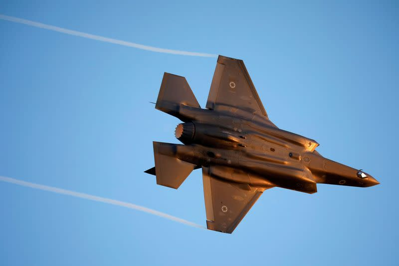 FILE PHOTO: Israeli Air Force F-35 flies during an aerial demonstration at a graduation ceremony for Israeli air force pilots at the Hatzerim air base in southern Israel