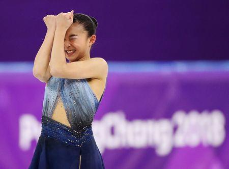 Figure Skating - Pyeongchang 2018 Winter Olympics - Ladies Single Skating Short Program - Gangneung, South Korea - February 21, 2018 - Kaori Sakamoto of Japan reacts after her performance. REUTERS/Lucy Nicholson