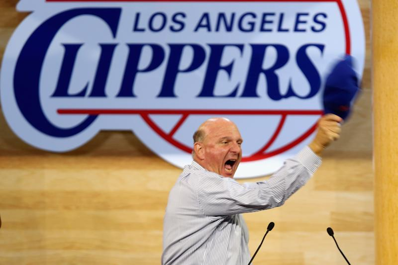 New Los Angeles Clippers owner Steve Ballmer speaks during the Los Angeles Clippers Fan Festival at Staples Center on August 18, 2014 (AFP Photo/Jeff Gross)