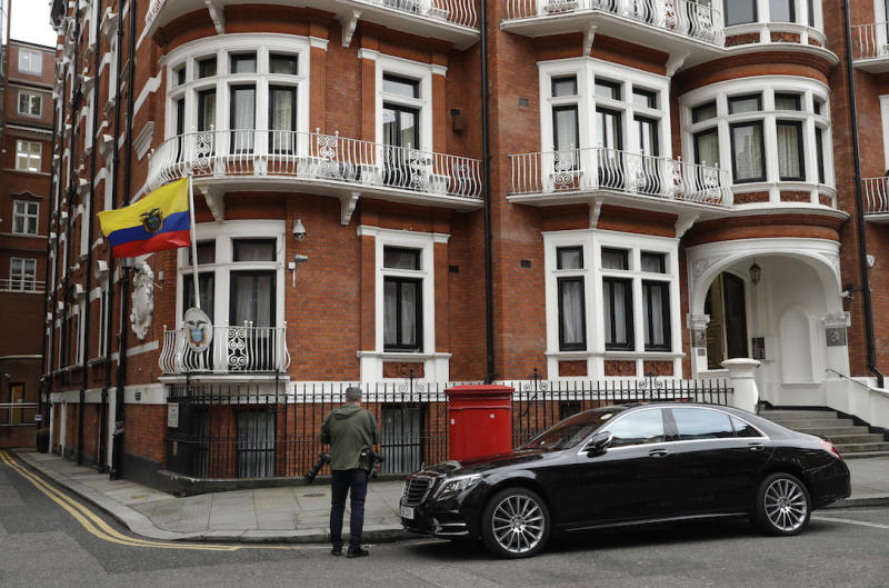 Assange took refuge in Ecuador's embassy in London in 2012 to escape extradition to Sweden to answer questions about sex-crime allegations from two women. (AP Photo/Matt Dunham)